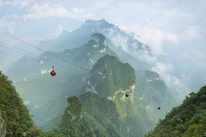 View of majestic peaks of Tianmen mountain