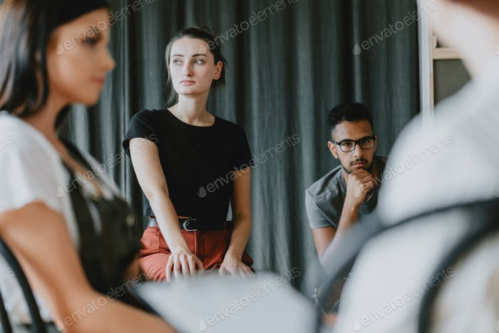 Worried girl on psychotherapy