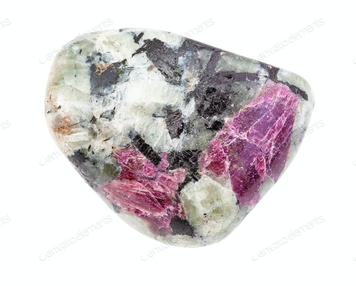 ruby gemstone in polished stone isolated