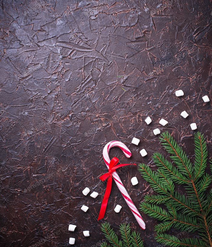 Pfefferminzbonbons Zuckerrohr. Weihnachten festlicher Hintergrund