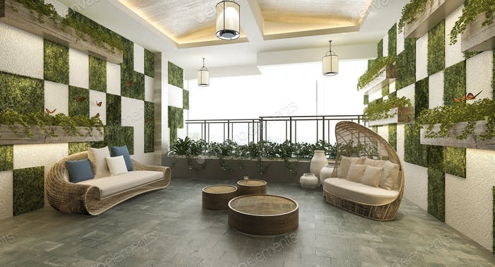 3d rendering living area near balcony and green wall plant