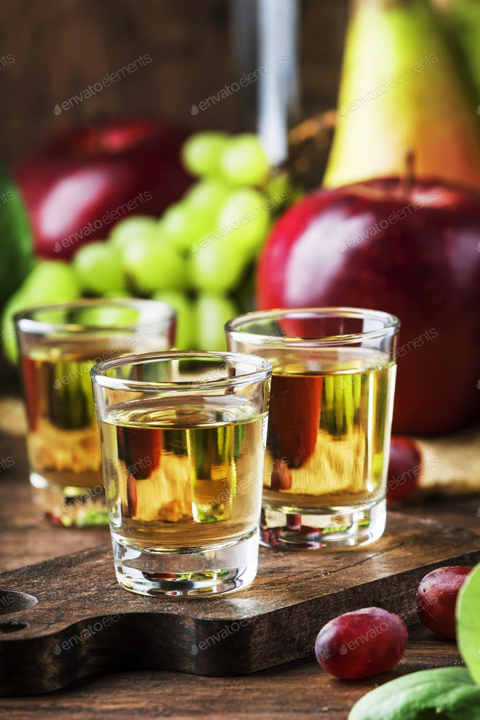 Rakija, raki or rakia - Balkan hard alcoholic drink or brandy from fermented fruits
