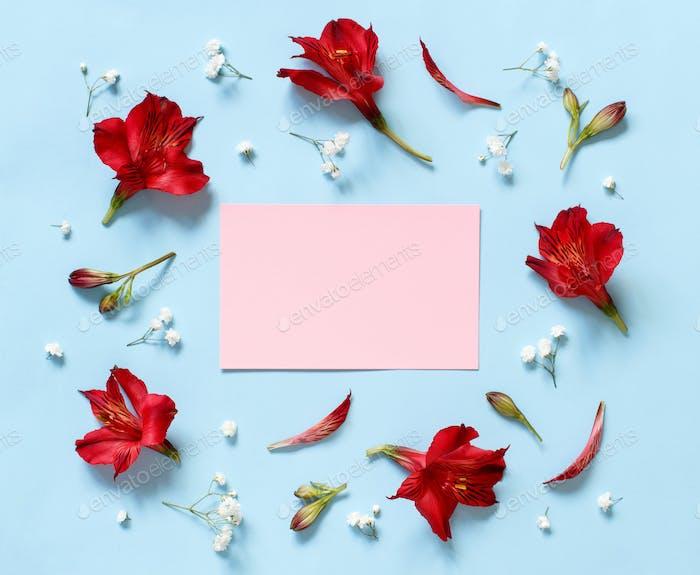 Placeit — Blumen auf hellblauem Hintergrund