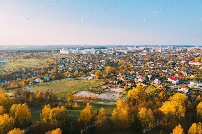 Grodno, Weißrussland. Vogelperspektive von Hrodna Cityscape Skyline. Wohnviertel In
