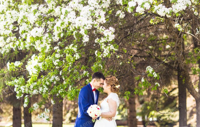 wedding couple in spring nature