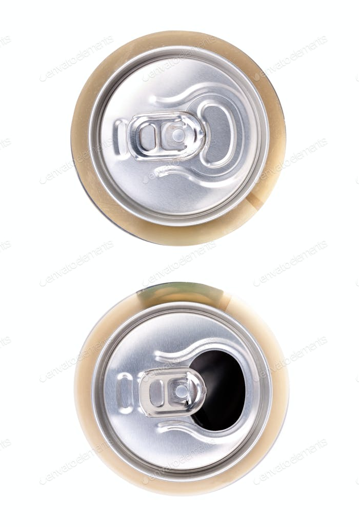 Two beer can on white background