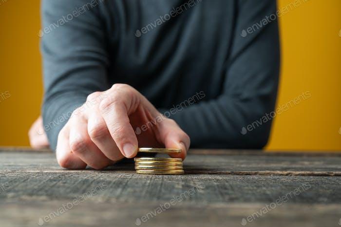 Apilar bitcoins dorados