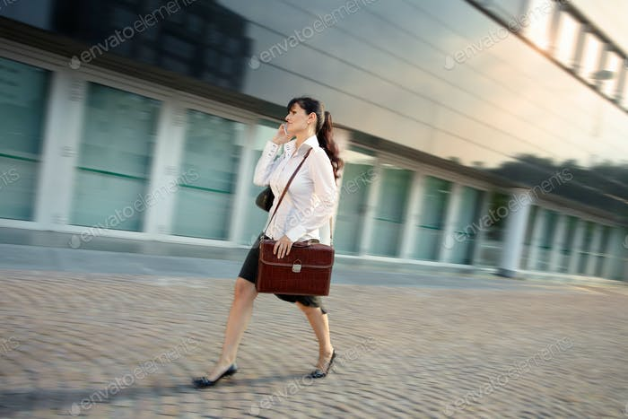 Mature Business Woman Posing Outside Office