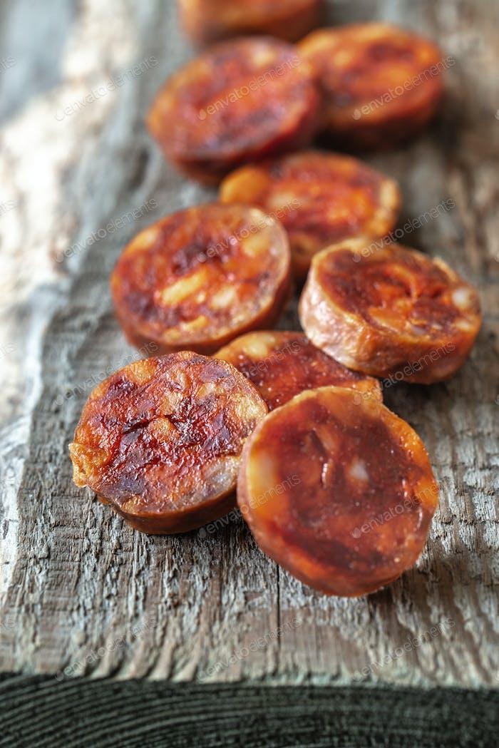 Slices of with spanish chorizo