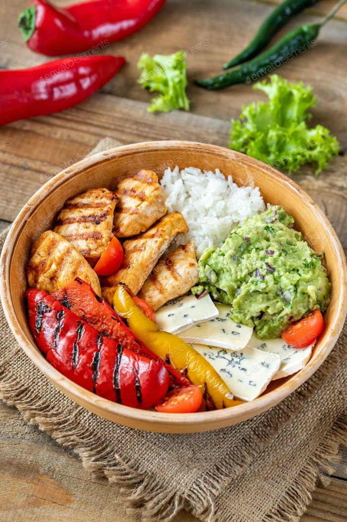 Chicken, avocado and rice bowl