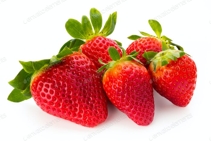 Fresh strawberries close up on white background.
