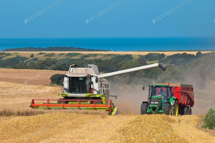 Mähdrescher und Traktor