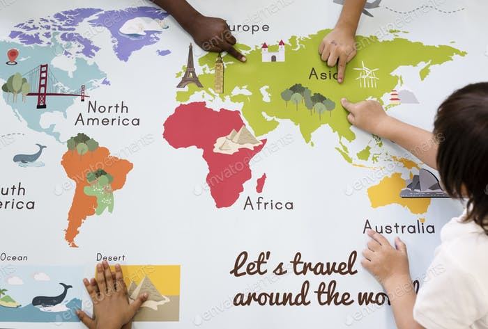 Kids Learning World Map With Continents Countries Ocean Geograph - World map with countries and oceans