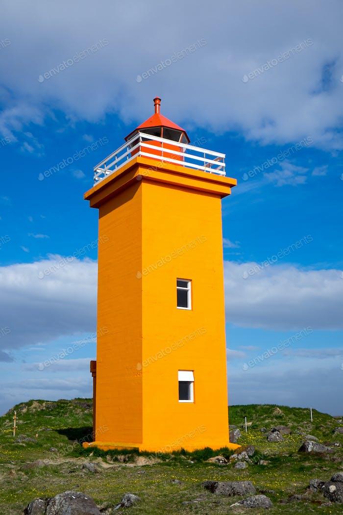 Orange lighthouse in Iceland