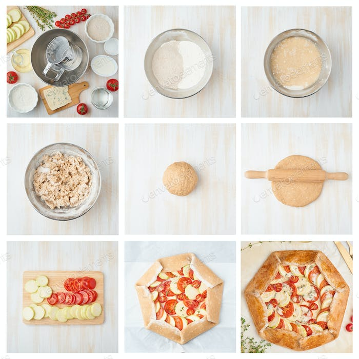 Collage, step by step recipe. Galette with vegetable.