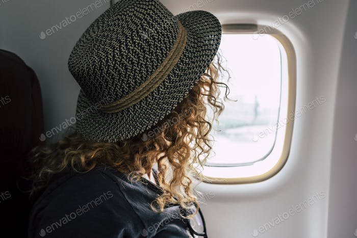 Woman travel on aircraft flight