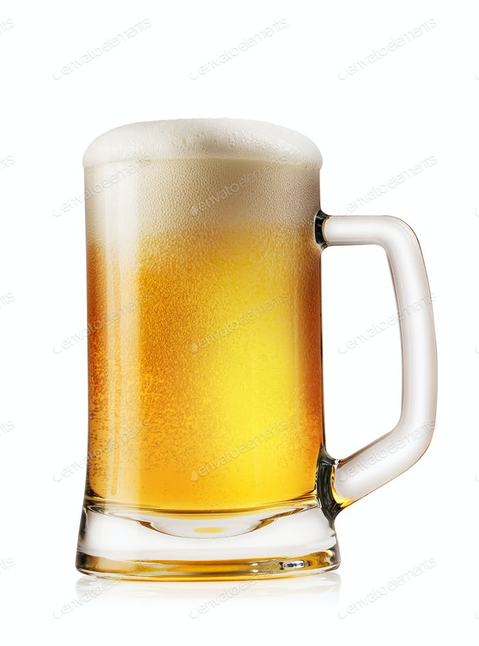 Mug light foamy beer
