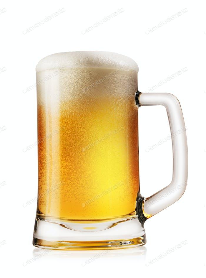 Becher Licht schaumiges Bier
