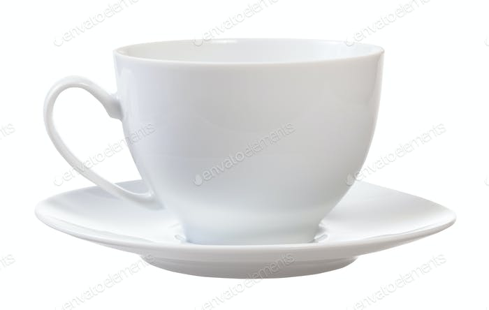 Seitenansicht von weißen Porzellan Tasse und Untertasse