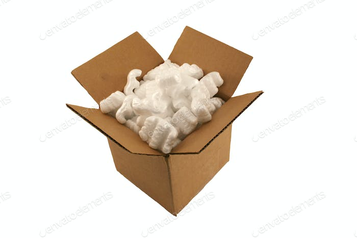 Isolated open cardboard box with packing peanuts