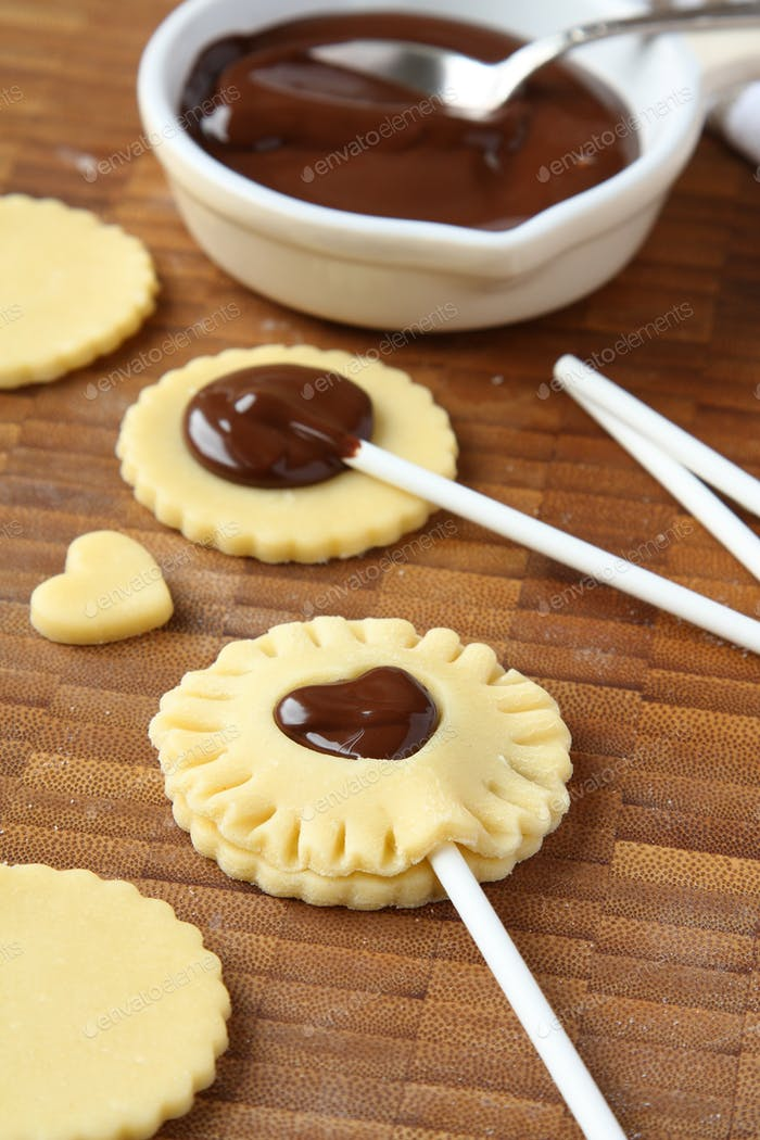 Process of baking homemade shortbread cookies with chocolate