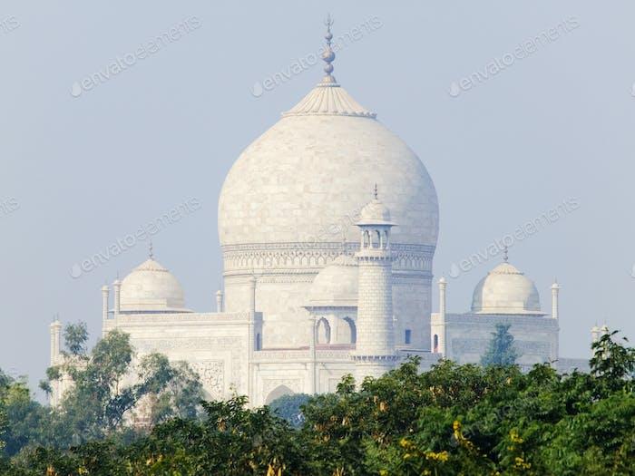 Taj Mahal Kuppel und Minarette.