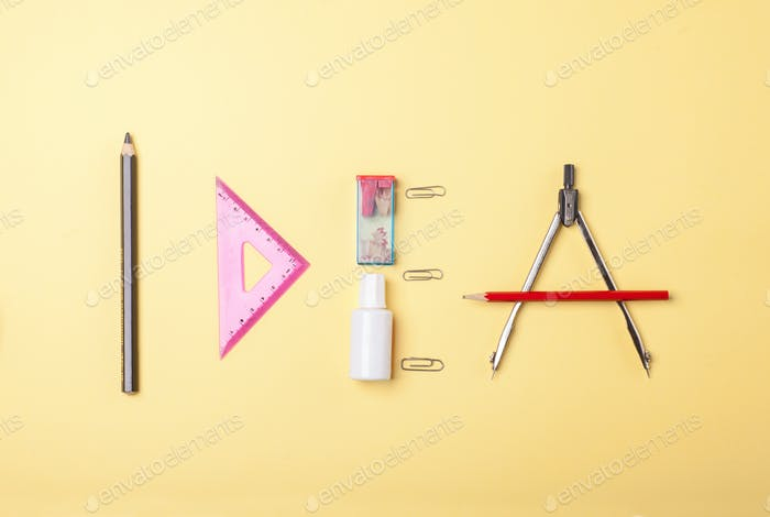 word idea, stationery objects and tools