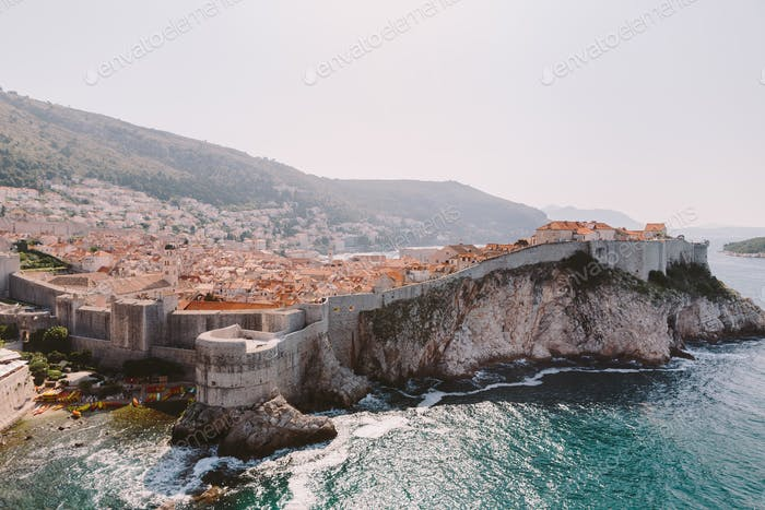 Walls of Dubrovnik and sea