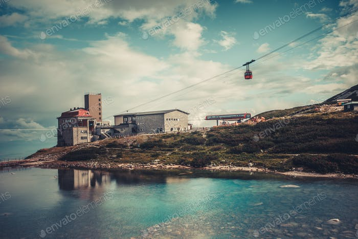 Cable car leading to the vacation resort. Tatras