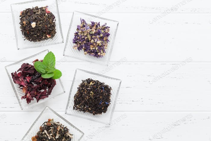 Different herbal and fruit teas