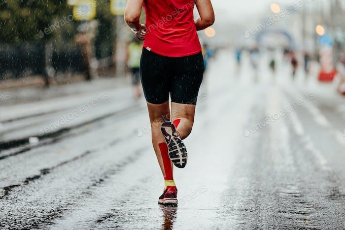 back woman running