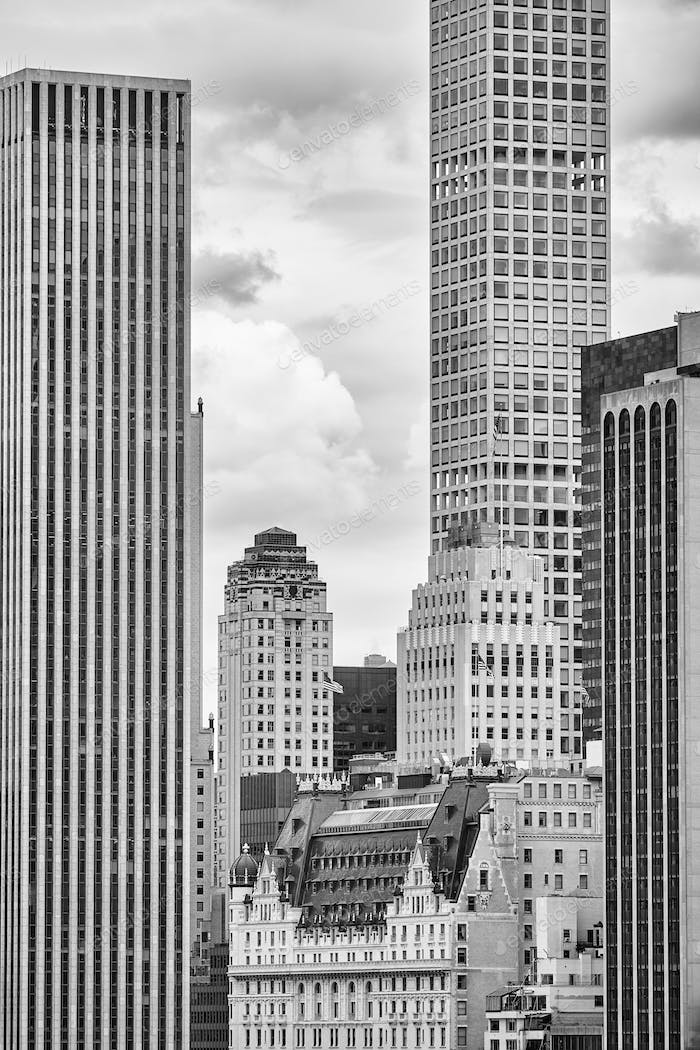 Black and white picture Manhattan skyscrapers, NYC.