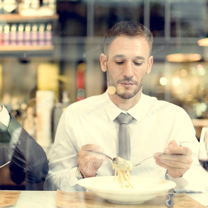 Business Men Having Lunch Restaurant Concept