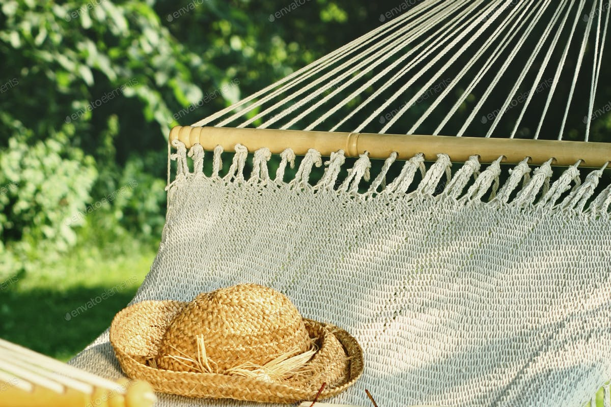 Crocheted Hammock With Straw Hat And Book Photo By Sandralise On