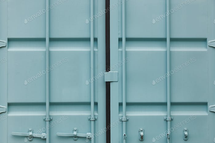 Cargo container doors in blue green tone. Delivery background. Horizontal