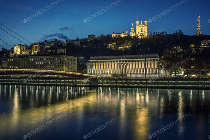 View of Lyon and Saone river at night