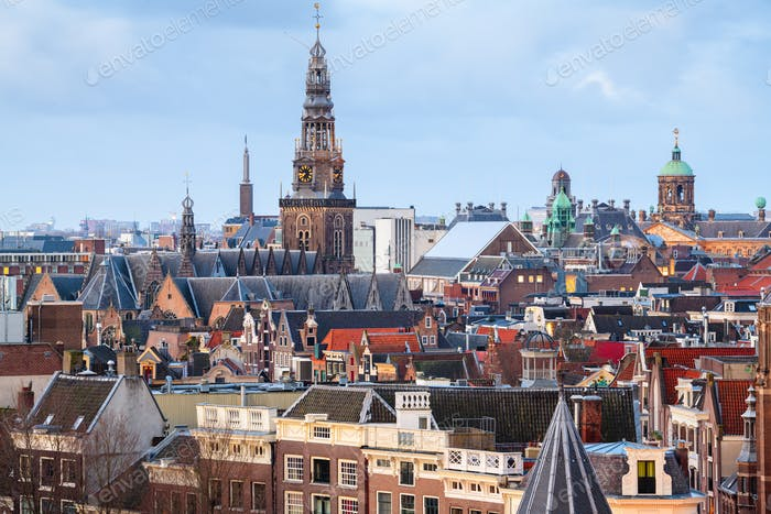 Amsterdam, Netherlands old town cityscape