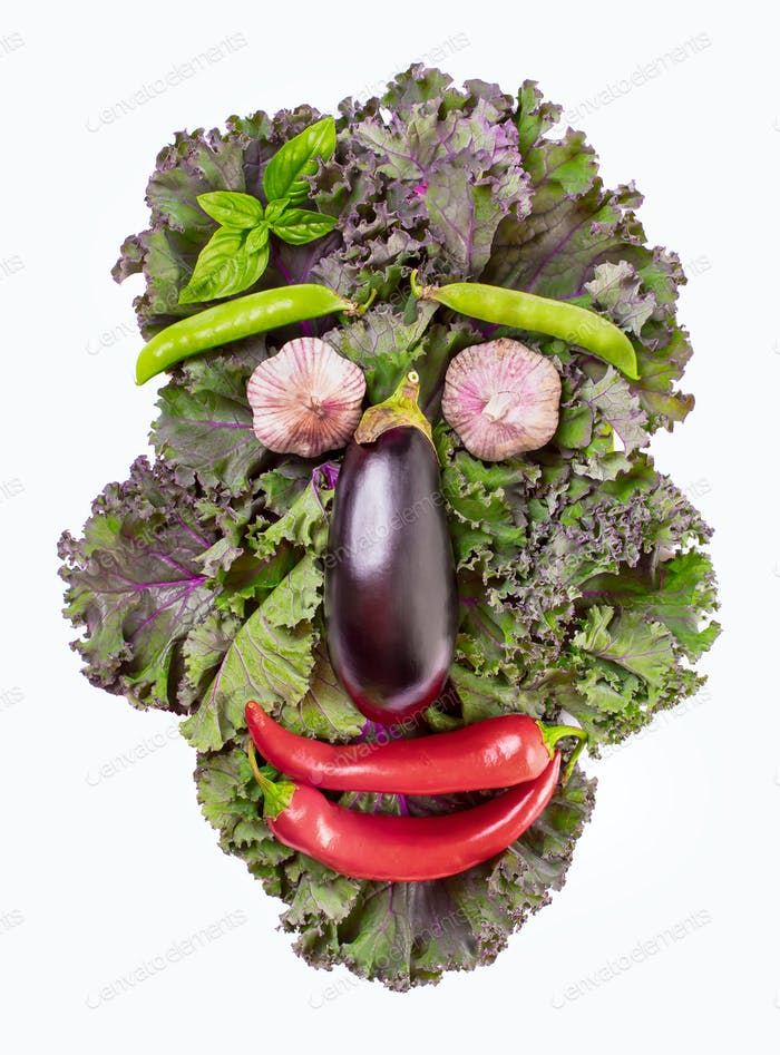 Face made of  kale and vegetables isolated