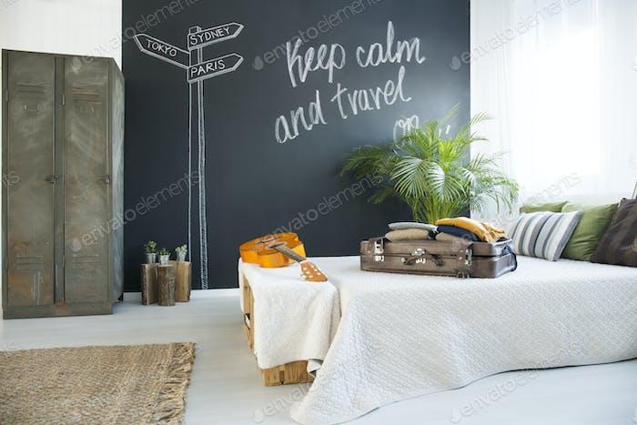 Bed in cozy bedroom