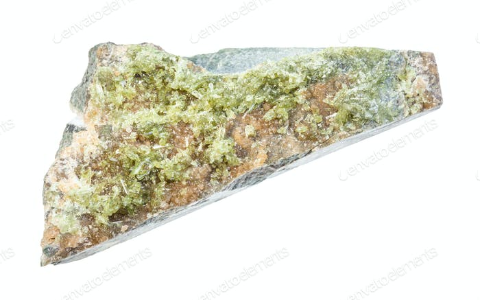Vesuvianite crystals on unpolished rock isolated