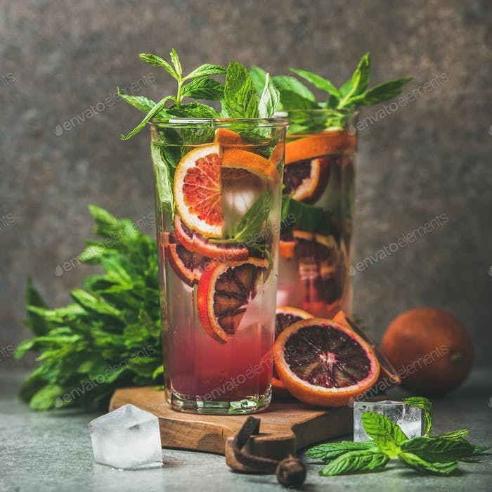 Blood orange citrus lemonade with mint and ice, square crop