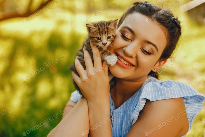 beautiful girl with cats