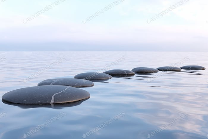 Zen stones in water