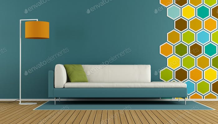Blue living room with hexagon decorations