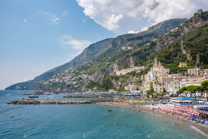 View of beach and port in Amalfi town