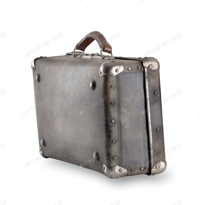 Standing at an angle leather suitcase