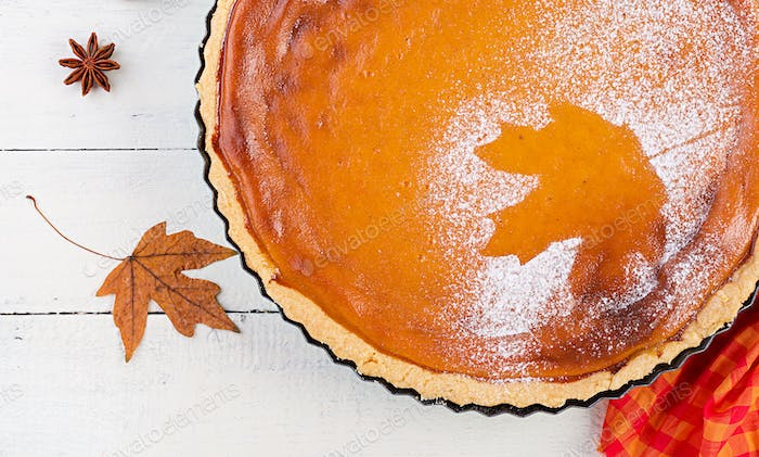American homemade pumpkin pie with cinnamon and nutmeg, pumpkin