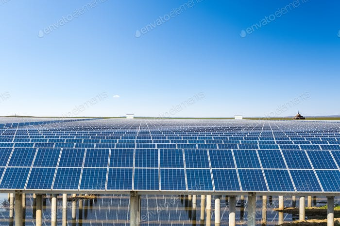 solar energy in prairie under the sunny sky