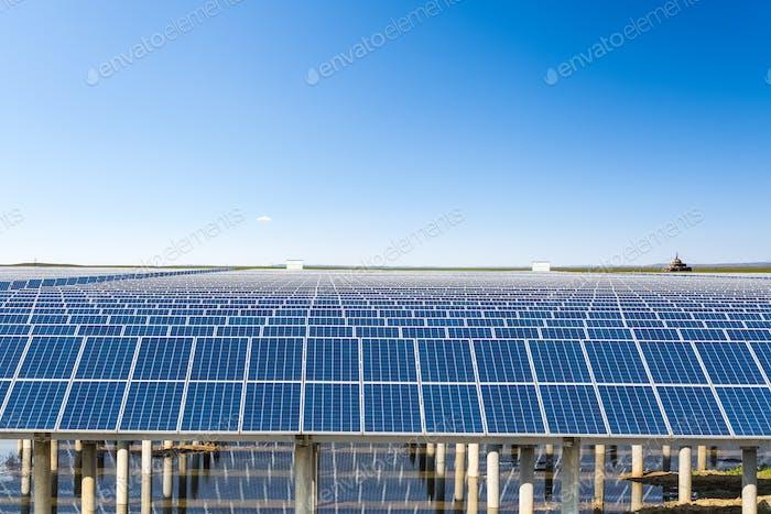 solar energy in prairie under the sunny sky