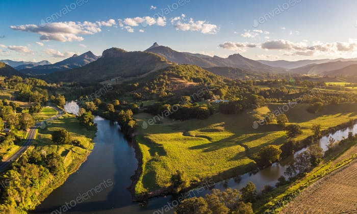 Drone view of Tweed River and Mount Warning, New South Wales, Au